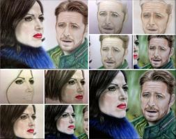 WIP Regina and Robin - OutLawQueen by tanjadrawing