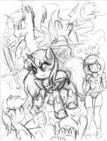 Pony Sketch Dump 4 by DANMAKUMAN