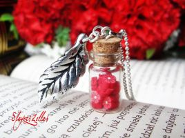 Tiny bottle with red flowers by Benia1991