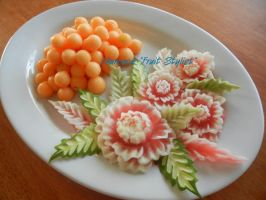Melon Flowers Platter by Chuncarv