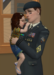 The Sims 2: General Buzz Grunt and his daughter by SnowxChan
