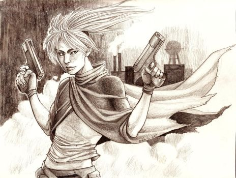The Wandering Weapon- Two Guns by genki-kid