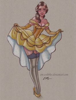 Belle Pin-Up Commission by em-scribbles