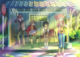 Four Friends, One Waiting Shed by Hokage3