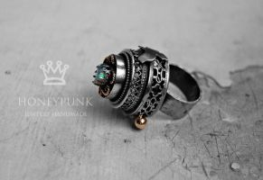 Ring raven silver sterling opal 1 by honeypunk