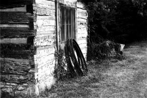 Side of Barn with Wagon Rings by Luthienmisery29