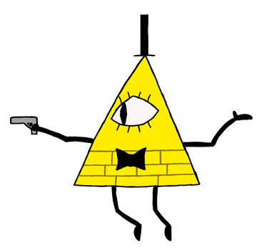 bill cipher but he has a gun by mynameischrome