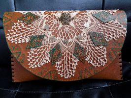 unique handmade leather clutch by Maya2006