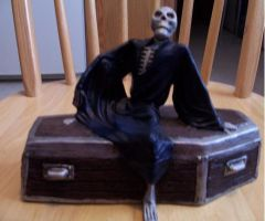 Skeleton with Coffin by MadForHatters