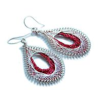 Red and silver earrings by OlgaC