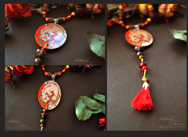 Wooden painted kitsune necklace by orum-the-cat