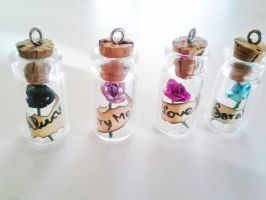 Personalized messages Rose in a bottle necklace by kikums