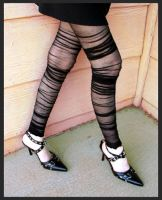 ruched leggings, eyelet heels by missrex