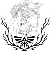 Rii x Dark Link Tattoo Lineart by riamux