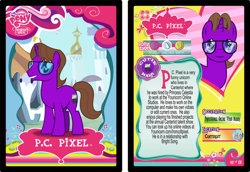 P.C. Pixel trading card by Dragnmastralex