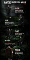 Dawn of the Planet of the Apes character guide by Artlover67