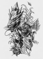 Dragon, Skull, Eagle Tattoo Design by CrisLuspoTattoos