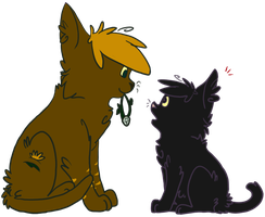 Fallingspring and Coalpaw by TopHatless