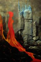 in flames... Mixed media on canvas by luna131727