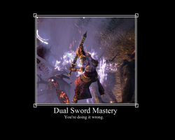 Dual Sword Mastery Motivational Poster by ArchonofFate