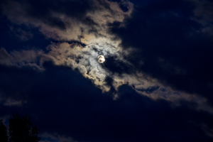 Clouds and Moon by oddmountain