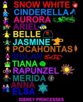 Disney Princesses Doodle By Words by ESPIOARTWORK-102