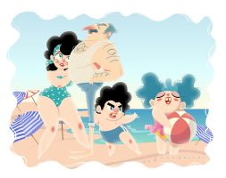 On the beach with family by VencysLao