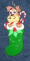 Pup in stocking ornament by ladytech