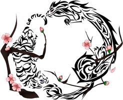 Tiger, Dragon, Cherry Blossom Tattoo~ by robinsfantasy