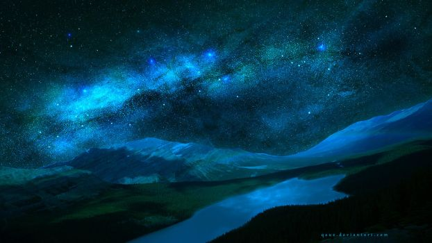 Blue Stars Night by QAuZ