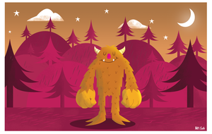Monster Dusk Print by Yeti-Labs