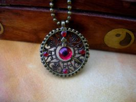 Steampunk Clockwork Gear Pendant - Evil Eye 1 by LadyPirotessa