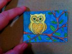 ACEO #13 Nature series Yellow Owl by ShelandryStudio