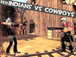 Red Indians vs Cowboys by TheCrymeTyme