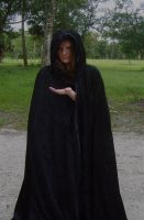 Girl in black cloak -hand out by DiamondandJewel