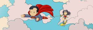 Scribblenauts unmasked Superman and Wonderwoman by CaterinaOrlando
