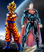 Goku and Superman Defenders of Hope by WOLFBLADE111