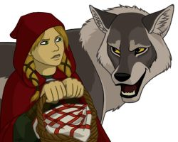 Red Riding Hood and the Wolf by Cordania