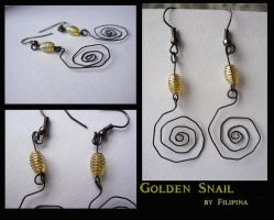 Golden snail earings by Marchia