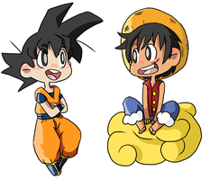 Chibi Goku and Luffy by Rin-Chan93