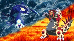 Groudon vs kyogre wallpaper 1920x1080 by flutterrainboom