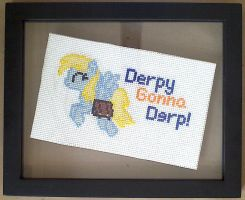 Framed Derpy Cross Stitch by sparklepeep