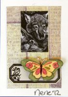 collaged foxes b/w by Neneplayswithpaper