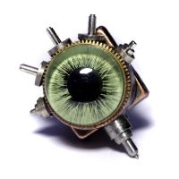 Steampunk Green Eye Tie Tack by CatherinetteRings