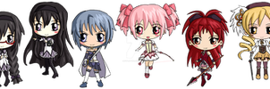 Puella Magi Madoka Magica Chibis by IcyPanther1