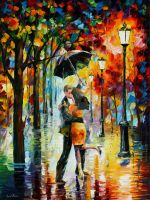 Dance Under The Rain by Leonid Afremov by Leonidafremov