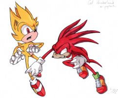 Super Sonic v. Knuckles by mau