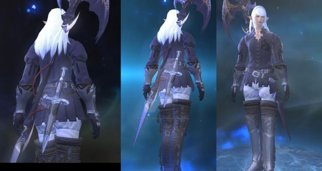FFXIV Estinien Outfit at the end cutscene 3.3 by Fantasy-Girl19