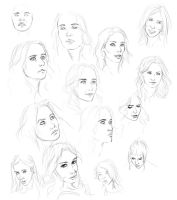 Sketches - Female Faces Study by dessavk