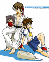 Summers Here - Ryu + Sakura by desfunk
